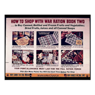 How To Shop With War Ration Book Two Postcards