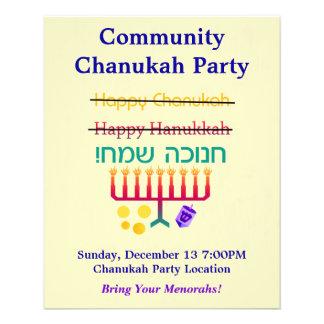 How to Spell Hanukkah Chanukah Party Flyers