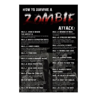 How To Survive A Zombie Attack ! 20 Rules Print