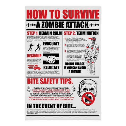 How To Survive A Zombie Attack Print