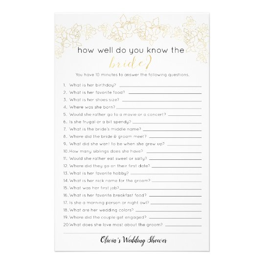 How Well Do You Know The Bride Game, Bridal Shower Flyer