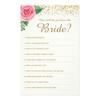 How well do you know the Bride Game Flyer