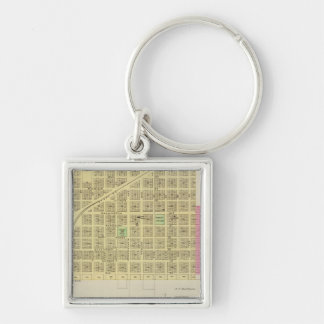 Howard and Grenola, Elk County, Kansas Silver-Colored Square Keychain