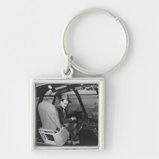 Howard Hughes in Spruce Goose Wooden Plane Keychain