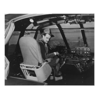 Howard Hughes in Spruce Goose Wooden Plane Poster