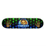 Howard skull blue fire and flames skateboard desig