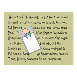 """""""Howards Bedsores""""  Twisted Story Art Gifts Postcard"""