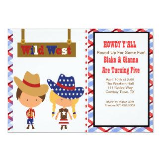 HOWDY!AmericanCowboy & Cowgirl Birthday Invitation