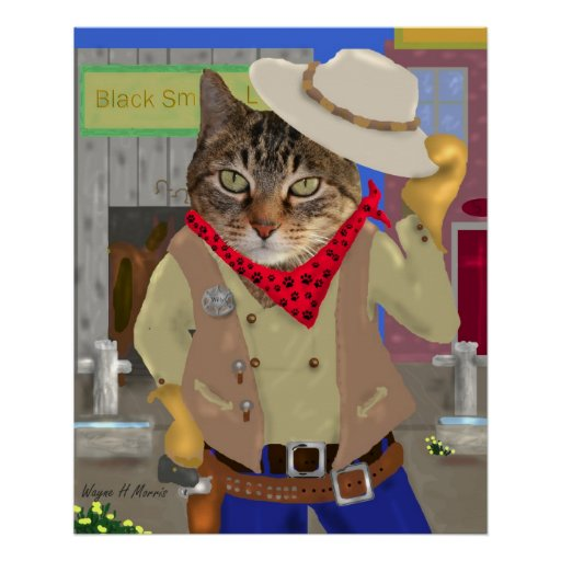 Howdy Cat Poster
