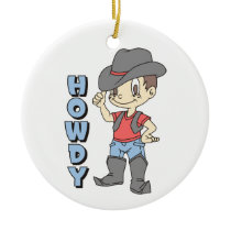 Howdy Ceramic Ornament