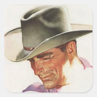Howdy cowboy square sticker