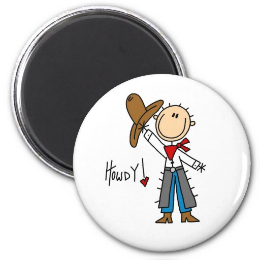 Howdy! Cowboy Stick Figure Magnet Refrigerator Magnet