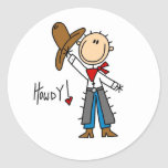 Howdy! Cowboy Stick Figure Sticker