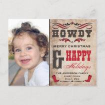 Howdy Cowboy Western Xmas Phostcard Holiday Postcard