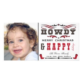 Howdy Cowboy Western Xmas Photocard Photo Greeting Card