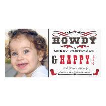 Howdy Cowboy Western Xmas Photocard Card
