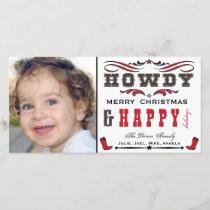 Howdy Cowboy Western Xmas Photocard Holiday Card