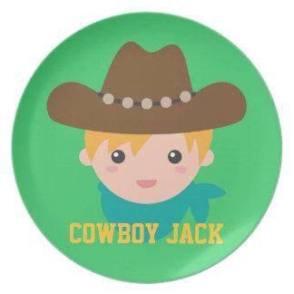 Howdy, Cute Cowboy, For boys Melamine Plate