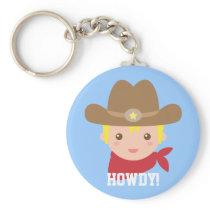 Howdy, Cute Cowboy for little boys Keychain