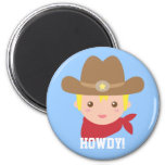 Howdy, Cute Cowboy for little boys 2 Inch Round Magnet