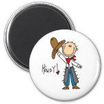 ¡Howdy! Figura imán del palillo del vaquero