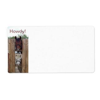 Howdy-Howdy etiquetas de envío del caballo