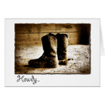 Howdy Note Card with Distressed Boots in Sepia