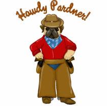 Howdy Pardner Cowboy Pug Cutout