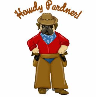 Howdy Pardner Cowboy Pug Standing Photo Sculpture