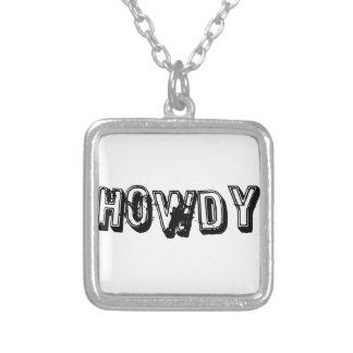 Howdy Square Pendant Necklace