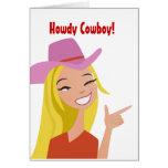 Howdy tarjeta de felicitación del vaquero