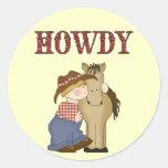 Howdy vaquero de Lil con los pegatinas de la Pegatina Redonda