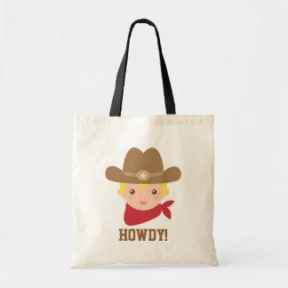 Howdy, vaquero lindo para los niños pequeños bolsa de mano
