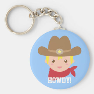 Howdy, vaquero lindo para los niños pequeños llavero redondo tipo pin