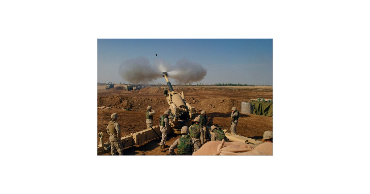 Print//Poster Camp Fallujah United States Marine Corps Usmc M-198 155Mm