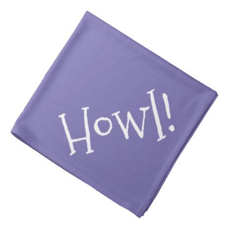 Howl! Purple and White Typography Pet Bandana
