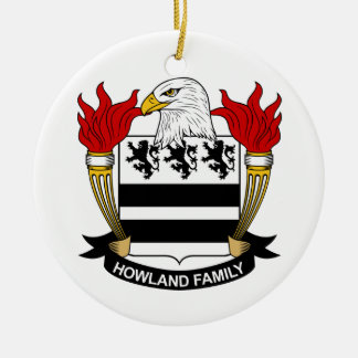 Howland Family Crest Double-Sided Ceramic Round Christmas Ornament