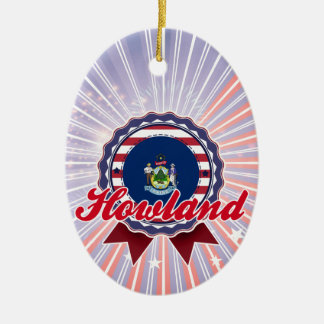 Howland, ME Double-Sided Oval Ceramic Christmas Ornament