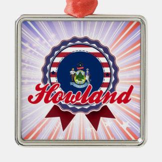 Howland, ME Square Metal Christmas Ornament