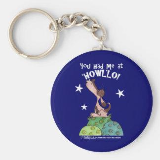 Howler Dog with stars Basic Round Button Keychain
