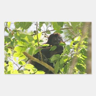 Howler Monkey Eating in the Jungle Rectangular Sticker