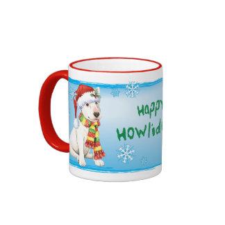 Howliday feliz bull terrier taza a dos colores
