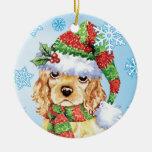 Howliday feliz cocker spaniel adorno navideño redondo de cerámica