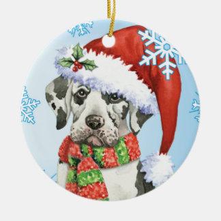 Howliday feliz great dane adorno navideño redondo de cerámica