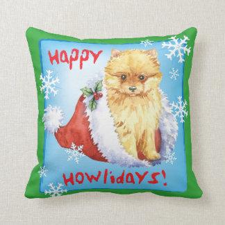 Howliday feliz Pomeranian Cojín