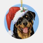 Howliday feliz Rottweiler Adorno Navideño Redondo De Cerámica