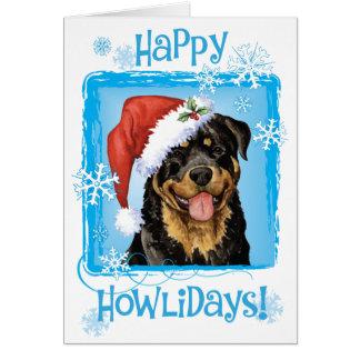 Howliday feliz Rottweiler Tarjeta De Felicitación