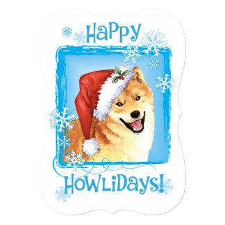 """Howlidays feliz Shiba Inu Invitación 5"""" X 7"""""""