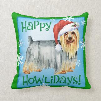 Howlidays feliz Terrier sedoso Cojín Decorativo