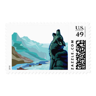 HOWL'IN WOLF IN THE MOUNTAINS POSTAGE